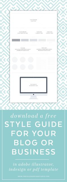 Click through to download your free style guide! Brand style guide for keeping your brand consistent and cohesive. Bloggers, small business, entrepreneurs.