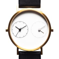 Long Distance 1.0 (gold) watch by Kitmen Keung. Available at Dezeen Watch Store: www.dezeenwatchstore.com