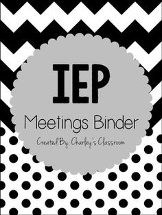 IEP Meeting Binder for the Year (Black & White) Repinned by SOS Inc. Resources pinterest.com/sostherapy/.