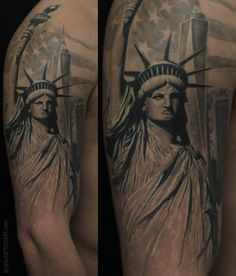 Statue Liberty Royal Jafarov realistic tattoo realism black and grey nyv new york artist tattooer. Statue Of Liberty Tattoo, Statue Tattoo, Liberty Statue, Future Tattoos, Love Tattoos, Tattoos For Guys, Tatoos, New York Tattoo, Nyc Tattoo