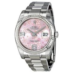 White Gold Pink Floral Rolex