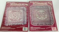 Lot 2 Vogart Crafts Net Darning Kit Pillow Victorian Rose Butterfly Lace Fabric