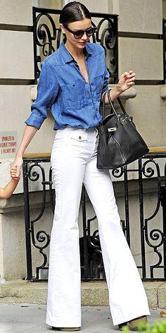 MIRANDA KERR #shirtstyling #buttonshirts www.geisker.com