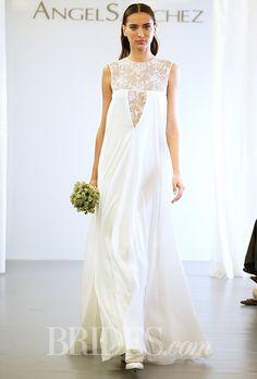 Flowing, illusion lace goodness by  @angelsanchezpr #weddingdress | Brides.com
