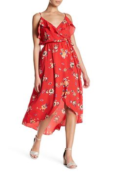 4520ac75c4 Ruffle Wrap Floral Midi Dress by Soprano on  nordstrom rack Floral Midi  Dress