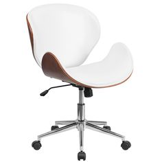 Flash Furniture Mid-Back Mahogany Wood Swivel Conference Chair in White Leather - The Home Depot White Leather Office Chair, White Office, Leather Chairs, Swivel Office Chair, Office Chairs, Desk Chairs, Dining Chairs, Room Chairs, Furniture Chairs