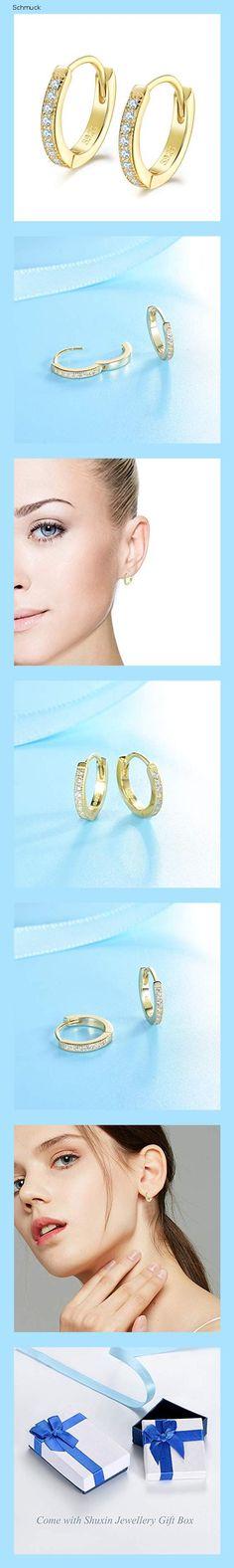 Dicheng Creolen Gold Damen Ohrringe, 925 Sterling Silber Creolen mit AAA Zirkonia, Durchmesser 13mm Klein Schlafen Kreolen, Kommt in Schmuck Geschenk Box - 14fi