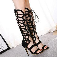 2017 Spring Summer New Sexy High-heeled Women Sandals Hollow Female Cool Boots Sandals Cross Straps Black Shoes XP35