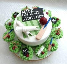 Cricket Cake Birthday Cakes For Men, Cricket Birthday Cake, Cricket Theme Cake, 25th Wedding Anniversary Cakes, 40th Cake, Bithday Cake, Sport Cakes, Baby Boy Cakes, Gateaux Cake