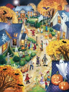 Halloween Town Jigsaw Puzzle | New Jigsaw Puzzles | Vermont Christmas Co. VT Holiday Gift Shop Artwork by Randy Wollenmann