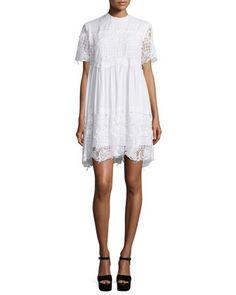 7a74c2d46d9 Kendall + Kylie Short-Sleeve Lace Babydoll Dress