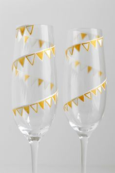 Hand Painted Champagne Flutes Glasses With Gold & White Pennant Banner - Pair Of 2 - Personalized - The Perfect Wedding Gift by Mary Elizabeth Arts on Gourmly