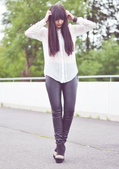 Girl, viktoriasarina, sarina, black and white, leather pants, blouse, bangs, legs