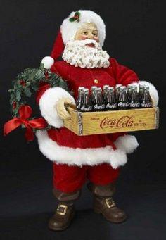 Cocoa-Cola Santa with case of Cokes
