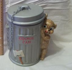 Bear Garbage Can Ceramic Cookie Jar Enesco Japan Vintage Foil Sticker Cookie Can with real chain to keep the lid attached