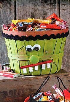 Cute Frankenstein Basket ~ fun idea for Halloween....orange with jack o lantern would be cute also!