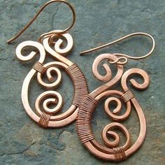 Copper Earrings Copper Wire Wrap Earrings Paisley by mavrica