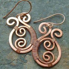 Copper Earrings Copper Wire Wrap Earrings Paisley by mavrica