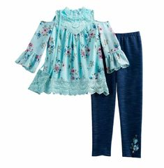 Leggings /& Infinity Scarf Set Knitworks Girls Patterned Bell Sleeve Top