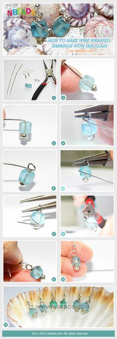 how to make wire wrapped earrings with sea glass