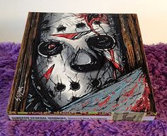 Custom Hand Painted Cigar Box Art – Jason Art – Horror Movie Décor - Cigar Box - Smoking Decor - Stash Box - Cigar Boxes - Friday the 13th by TimothyDaviesArt on Etsy