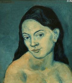 Head of Woman painting from Blue Period (1903) by Pablo Picasso