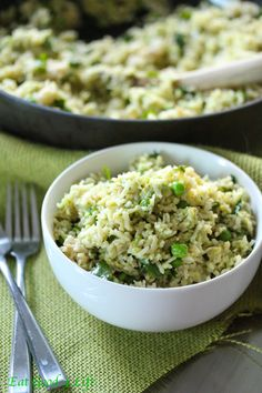 Avocado, lime and cilantro rice. This is done with brown rice. A much better option and tastier than take out. #glutenfree #cleaneating #vegan