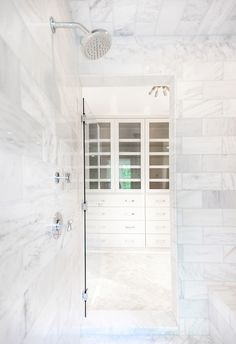 White Marble Shower Surround - Transitional - bathroom - Pencil and Paper