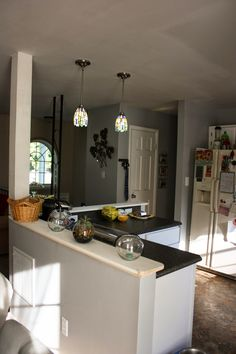 slate appliances a palette pleaser love the grey counters white cabinets and slate appliances. Black Bedroom Furniture Sets. Home Design Ideas