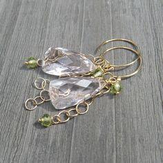 Morganite Quartz Earrings // Peridot Earrrings // Soft Pink and Soft Green on Etsy, $56.00