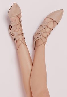 e28 Missguided - Strappy Lace Up Flat Shoes Nude