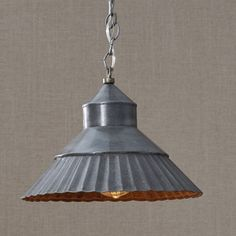 Galvanized Shade Pendant Light, with an antique finish, is a great fit wherever you need accent lighting in your farmhouse or primitive country home.This pendant light includes 3 feet of adjustable chain, 7 feet of cording, and a coordinating ceiling plate which can be easily hard-wired to any ceiling. #country #lamp #lighting