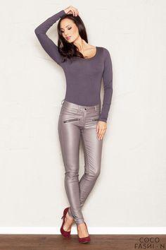 Stretch Skinny Pants (Faux Leather) with Slant Zipper Pockets