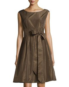 Sleeveless Tie-Waist Fit-and-Flare Dress, Brun by Lafayette 148 New York at Neiman Marcus Last Call.