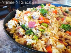 This is really good ~ Gena  Amazing Fried Rice ($0.49 per cup) more if you use chicken but still under $1 per serving