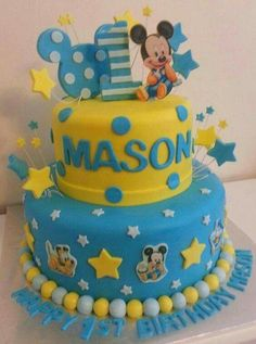 62 ideas of best birthday cake mickey mouse 2019 Baby Mickey Mouse, Baby Mickey Cake, Festa Mickey Baby, Bolo Mickey, Mickey Cakes, Mickey Party, Mickey 1st Birthdays, Mickey Mouse First Birthday, 1st Birthday Cakes