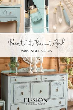 Inglenook: One of most popular Fusion Mineral Paint colours, Inglenook is a soft blue-grey with just a hint of pale green. It shows very well when used with clean crisp colours. Depending on the lighting, it can look more blue, or more green. Chalk Paint Colors, Interior Paint Colors, Chalk Painting, Green Furniture, Diy Furniture, Furniture Cleaning, Furniture Movers, Affordable Furniture, Furniture Makeover