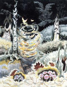 Whirling Leaves in a Black Hollow Charles Burchfield  1960   Private collection	 Painting - watercolor  Height: 96.52 cm (38 in.), Width: 76.2 cm (30 in.)