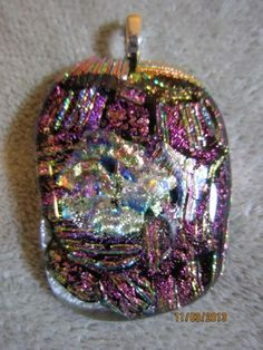 PURPLE PINK PICASSO DICHROIC GLASS PENDANT WITH DEPTH and texture   Imaginative_Creations - Jewelry on ArtFire