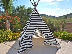 Black and White Stripe TeePee (Custom, Made to Order) -- Fort Tent Indoor Outdoor Play Photo Prop Tee Pee Playhouse