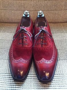 Handmade Men wingtip burgundy color shoes, Men suede and leather dress shoes - Dress/Formal Leather Dress Shoes, Lace Up Shoes, Leather And Lace, Suede Leather, Me Too Shoes, Real Leather, Cow Leather, Suede Shoes, Cowhide Leather