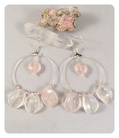 Rose Quartz on Silver Hoops  Rose Petal by ChakraBootyJewelry