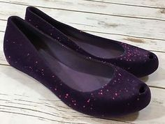 Melissa The Ultragirl Flocked in Purple Pink Flake Shoes Flats Womens 8 | eBay