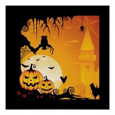Shop Scary Halloween Pumpkins and Full Moon Poster created by giftsbonanza. Personalize it with photos & text or purchase as is! Scary Halloween Pumpkins, Spooky Pumpkin, Halloween Cat, Halloween Gifts, Vintage Halloween, Halloween Stuff, Happy Halloween Pictures, Halloween Images, Halloween Bottle Labels