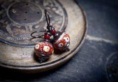 Lampwork glass bead earrings • everyday earrings • enamel • rustic earrings • ethnic • organic • oxidized solid copper • tribal • boho by entre2et7 on Etsy