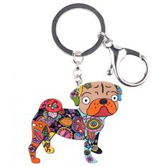 Acrylic Terrier Pug Dog Key Chain Key Ring Pom Gift for Women Dog Jewelry, Jewelry Sets, Animal Jewelry, Green And Grey, Red And Blue, Pug Accessories, Carlin, Girls Bags, Purses For Sale