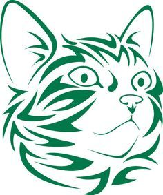 Tribal Cat Face looking right vinyl decal                                                                                                                                                                                 Plus