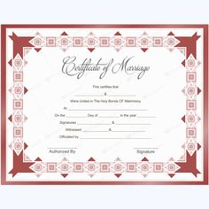 Mahroon colored marriage certificate template. #printablemarriagecertificate #wedding #certificate