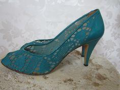 70's Shoes// Vintage 70's Crochet Peep Toe Shoes// 70's Pumps//. $35.00, via Etsy.