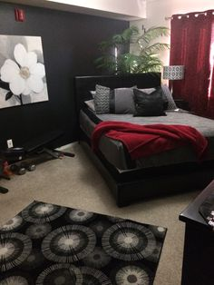 Black White Gray Red Bedroom